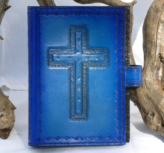 Bible Cover with an outlined wooden cross design and sculpted outlines around the cross (Custom made for your Bible)