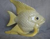Yellow and White Ceramic Fish Planter Vase