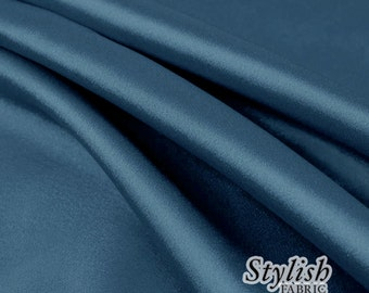 """60"""" Blue Sapphire Charmeuse Satin Fabric by the Yard, Charmeuse Fabrics, Charmeuse Satin, Bridal Wedding Satin Fabric- 1 Yard Style 2800"""