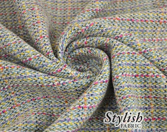 Multicolor Aqua Boucle Fabric Boucle Fabric by the yard woven fabric Boucle Fabric  - 1 Yard Style 6025