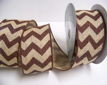 Burlap Ribbon, Brown Chevron Ribbon,Rustic Wedding Decor, 10 yards,