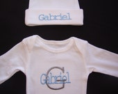 Personalized/ Monogrammed / Embroidered Baby Boy Coming Home Outfit - Hat / Beanie & Onesie