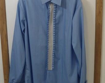 1950's vintage Men/Women Tuxedo shirt baby blue with lace detail