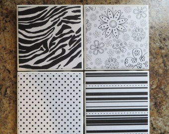Black & White Ceramic Tile Coasters..4 different designs..Set of 4..Gift