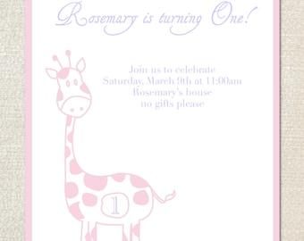 Giraffe first birthday party invitations