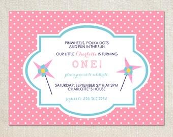 Pink and teal pinwheel polka dot birthday party invitations