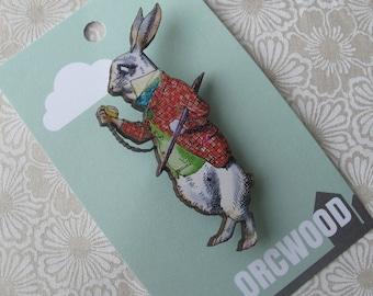 Wood Brooch - White Rabbit (Alice in Wonderland)