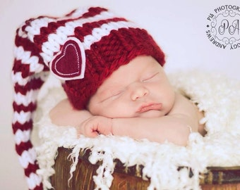 Red and White Valentine's Day Elf  Baby Hat Size Newborn to 12 months  Knitted Baby Hat  Photo Prop