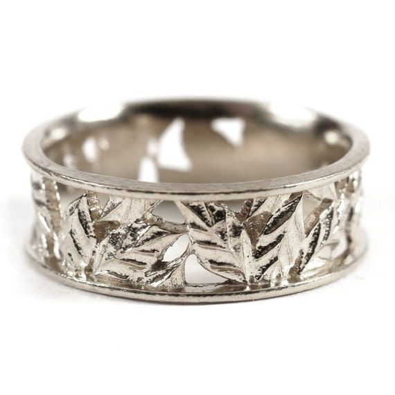 Leaf Ring Wedding Ring Custom Made With Cherry Tree Leaves in Sterling Silver, Made in Your Size R5005
