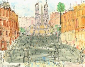 SPANISH STEPS ROME, Art Print Italy, Rome Sketch, Signed Limited Edition print, Rome Watercolour Painting, Piazza di Spagna, Clare Caulfield