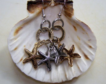 Silver and Gold Starfish Earrings, Hand Crafted