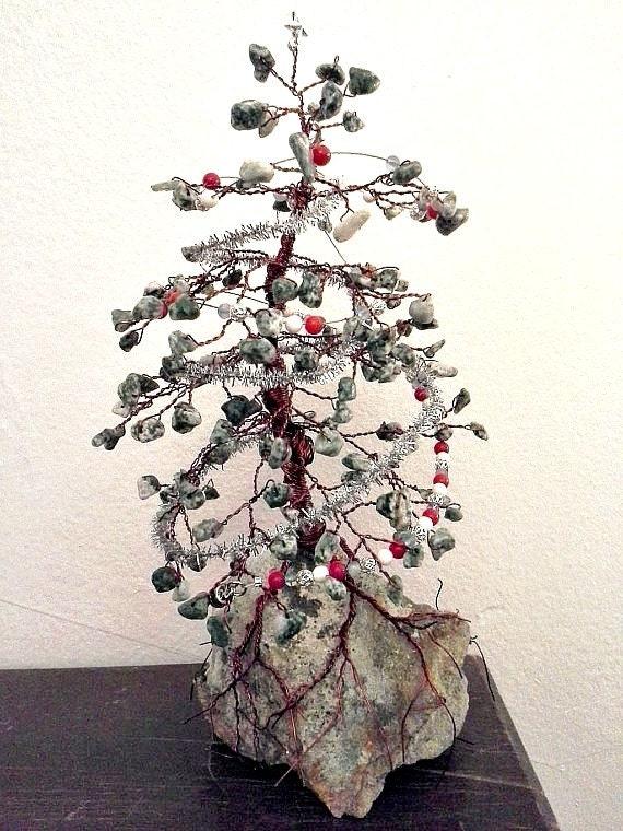 Christmas tree agate w garland pine gem by