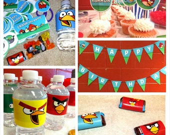Angry Birds Complete Personalized Birthday Party Set - Angry Birds Birthday Party - DIY Printable