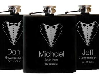 Wedding Party Favors, Set of 12, Personalized Flasks, Engraved Flasks, Custom Flasks, Best Man Flask, Groomsmen Flask, 6oz Each