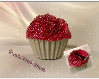 Cupcake tape dispenser, fully customised with fuchsia/hot pink crystals.