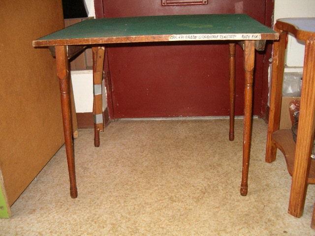 antique oak card table folding wool felt top by johnvenables. Black Bedroom Furniture Sets. Home Design Ideas