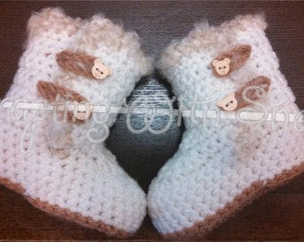 Bear Button Toggle Closure Style Crochet Booties