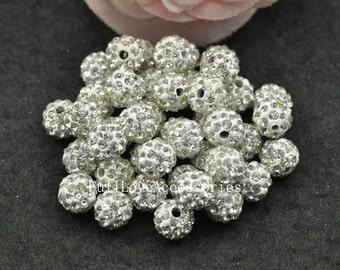 10pcs 8mm White Stone Shamballa Beads - Polymer Clay with White Rhinestone Shamballa Beads - Shamballa Disco Crystal Ball Beads