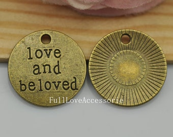 10pcs Antique Bronze Love and Beloved Tag Charms Pendants 20mm