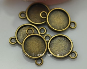20pcs Antique Brass Cameo Cab Bezel Setting Frame fit 10mm Cabochon Setting Connector, Pendant Setting, Bezel Setting, Cabochon Base Setting