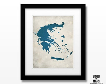 Greece Map Print - Home Town Love - Personalized Art Print
