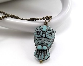 Antique Brass Necklace - Turquise Owl