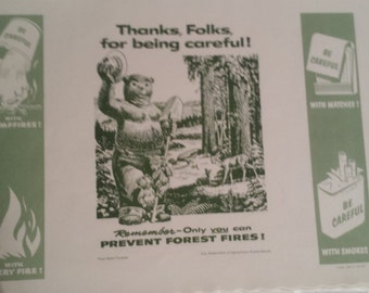 SMOKEY the Bear with Bambi & Cubs  Place Mats/Poster 1971 Authentic Rare Vintage