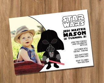 Star Wars Inspired Darth Vader Invitation with Photo (Digital - DIY)