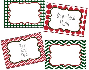 christmas labels editable christmas labels chevron and polkadots red ...