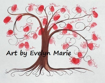Thumbprint tree guest book PDF file printed free shipping graduation gift Valentines Day Wedding Get Well Welcome Home house