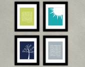 Bible Verse Nursery Art Print Set of 4 - Numbers 6 - Sun Illustration - Tree Illustration - Jeremiah 29:11