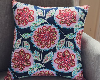 """Square Cushion Cover Amy Butler Lark Charisma fabric in """"Midnight Floral Medallions""""complemented with a french linen backing"""