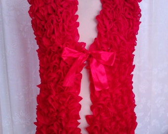 Ladies Hand Knitted Frilly Red, Scarlet,  Waistcoat, Gillet, Wedding,  Christmas ,New Year , Party , FREEPOST UK