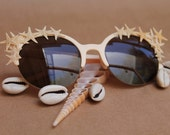 SHELLY - Mermaid Sunglasses, Starfish Embellished Sunglasses, Beach Accessories, Vintage Cat Eye Glasses