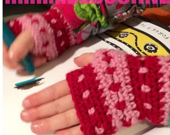 Cashmere merino kids fingerless gloves Child size
