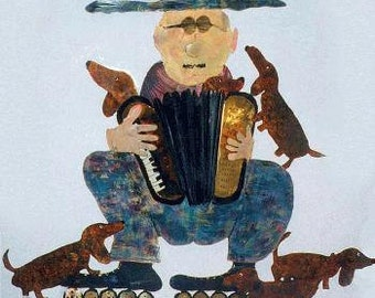 Accordion Player...and Friends, Wall Sculpture