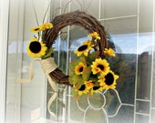 Rustic Sunflower Wreath, Summer Grapevine Wreath, Small Natural Twig Wreath, Summer Burlap Wreath, Summer Wreath for Door, Front Door Wreath
