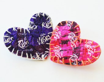 Valentine sweet love heart brooches handmade from recycled plastic chocolate wrappers. Unique, textural, purple, pink, original & unusual