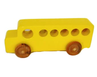 Wooden Kids Toys, Bus,Wooden School Bus Toy Bus, Wooden Bus, Wood Bus, Kids Toy Bus, Yellow Toy Bus