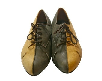 Grey Caramel Mixed Leather Shoes - All Leather Soles - Casual Shoes, Handmade Shoes, Women Shoes, Genuine Leather Shoes, Tie Shoes
