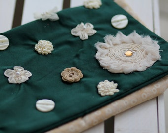 Green and Cream Decorated Soft Clutch