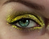 Eyeshadow:  Huntress on Gold Dragon - Dragonblood. Green Gold Sparkles Eyeshadow. Tammy Tanuka Sigil Inspired Loose Mineral Eyeshadows.