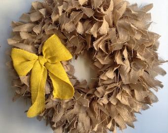 "Burlap Spring Wreath, 26"", Spring Wreath, Easter Wreath, Summer Wreath, Yellow Wreath"