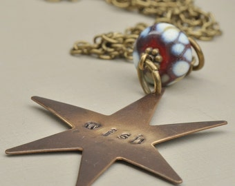 Wish Upon a Star Vintaj Hand Stamped Pendant with Lampwork Glass Bead