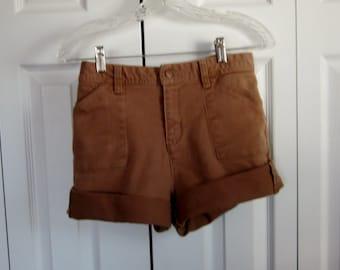 Vintage Brown Cut Off Denim Shorts, High Waisted Shorts, Stretch Denim Light Brown Jean Shorts, Bill Blass Cutoffs, Womens 6 Waist 31  GS125