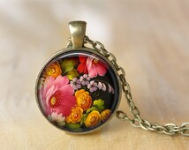 Vintage Flower Pendant Necklace Folk Art Jewelry  Print Photo Pendant  Necklace Gift For Her (142)