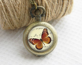 Pocket Watch Necklace Art Photo Pendant Watch Brown Butterfly Locket Necklace (003)