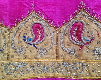 TS-13 Vintage Indian Pink Hand Embroidered Silk Sari