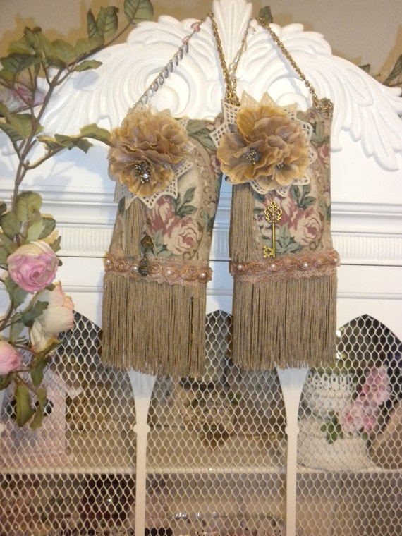 Antiqued Vintage Victorian Style Hanging Sachets