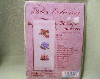 Ribbon Embroidery Boutique Banners - Floral Trio - Design By Anita Pigeon - Unopened Kit